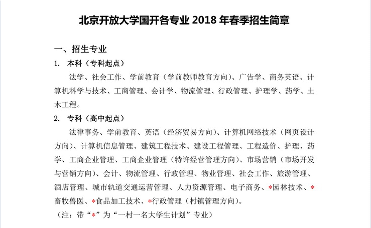 2019年北京开放大学春季招生简章